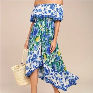 NWT Lulu's Blue Floral Off The Shoulder Dress